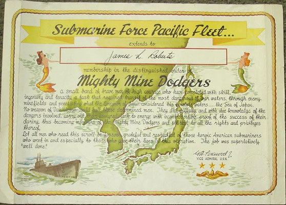 Mighty Mine Dodger certificate from our collection.