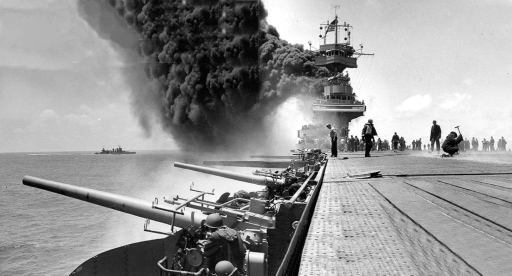 Scene on board USS Yorktown (CV-5), shortly after she was bombed.
